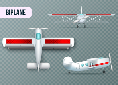 Biplane aircraft two wings airplane top side and front view realistic set transparent background shadow vector illustration