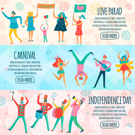 Parade of people during carnival, national holiday and thematic event horizontal flat banners isolated vector illustration