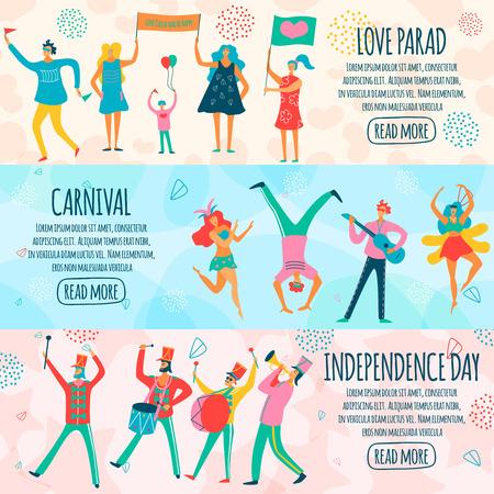 Parade van mensen tijdens carnaval, nationale feestdag en thematische gebeurtenis horizontale vlakke banners geïsoleerde vectorillustratie