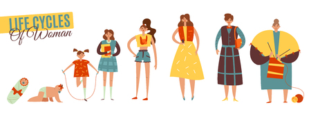 Life cycles of woman flat decorative icons set of all age categories from infancy to maturity isolated vector illustration Illustration