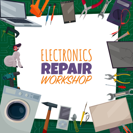 Colored electronics repair poster with electronic repair workshop headline and different tools spread out around vector illustration  イラスト・ベクター素材