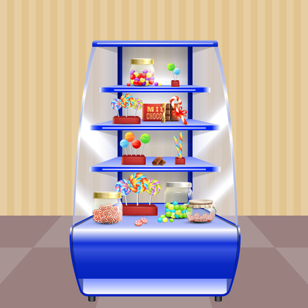 Blue shelves with candies including lollipops, caramels in glass jars, sweet cane and chocolate 3d vector illustration Illustration