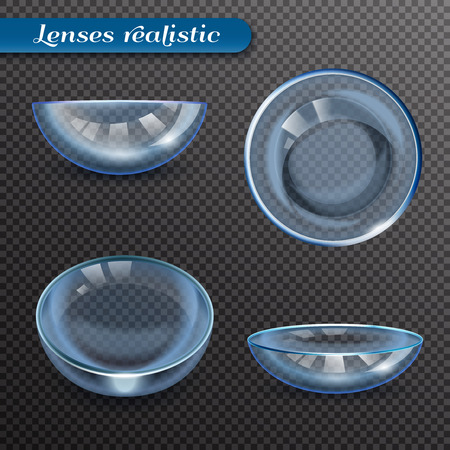 Set of realistic eye lenses in various positions with reflection isolated on transparent background vector illustration