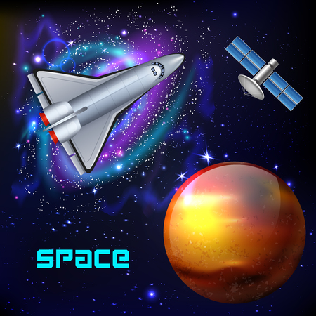 Cosmos realistic background with colourful images of far galaxies and space vehicles with planets and text vector illustration Illustration