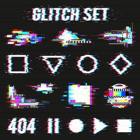 Glitch set on black background with geometric forms and font with distortion effect flat vector illustration Illustration