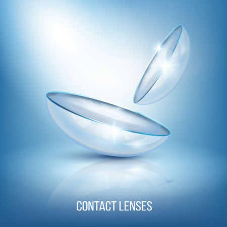 Realistic glossy eye lenses with reflection, composition on blue background with illumination vector illustration