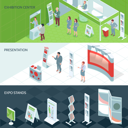 Exhibition center isometric banners with expo stands set and people who came on presentation vector illustration