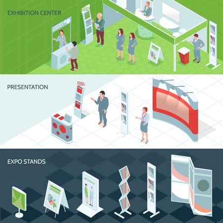 Isometrische Banner des Ausstellungszentrums mit Ausstellungsständen und Personen, die auf Präsentationsvektorillustration kamen