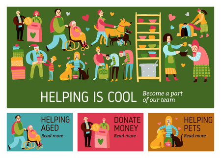 Helping is cool horizontal banners with different charity types and call to become part of team flat vector illustration