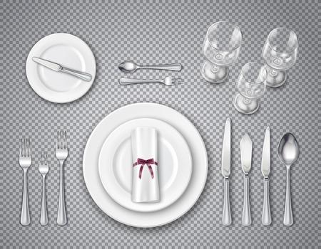 Conjunto transparente de vista superior de etiqueta de mesa con elementos de servicio para una persona ilustración vectorial realista Ilustración de vector