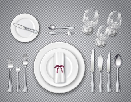 Tabelle Etikette Draufsicht transparenter Satz mit Elementen des Dienens für eine Person realistische Vektorillustration Vektorgrafik