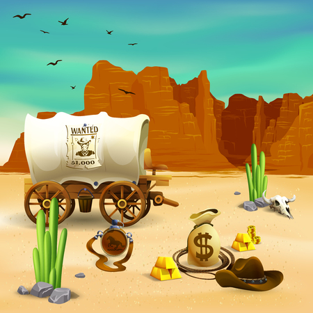 Wild west composition with cowboy accessories, wagon with wanted poster on red rocks background vector illustration Illustration