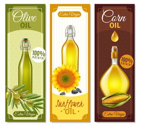 Natural product realistic banners set of glass bottles filled with sunflower olive and corn oil vector illustration
