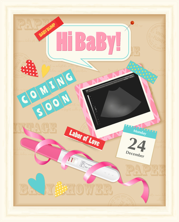 Coming soon baby girl realistic scrap album page with positive pregnancy test ultrasound image pink ribbon vector illustration