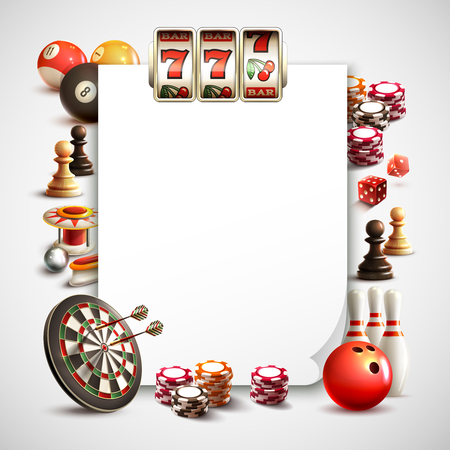 Games realistic frame with white sheet for text photo or different application vector illustration Illustration