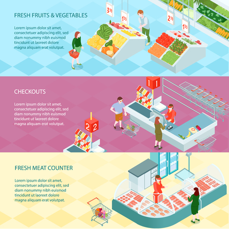 Supermarket horizontal banners set of fruits and vegetables trays fresh meet counter and checkouts isometric compositions vector illustration