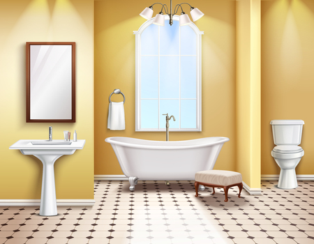 Simple bathroom interior realistic composition with bath toilet and bidet 3d elements vector illustration