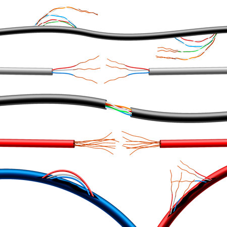 Set of realistic damaged electric cables of various diameter and color with sticking wires isolated vector illustration Illustration
