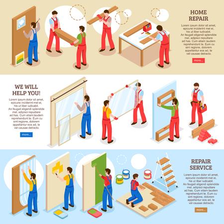 Hausreparatur Renovierung Innenumbau Unternehmen Service 3 horizontale isometrische Banner Webseite Design isoliert Vektor-Illustration Vektorgrafik