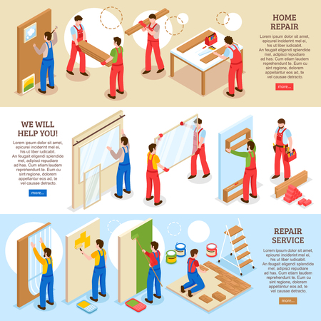 Home repair renovation interior remodeling company service 3 horizontal isometric banners web page design isolated vector illustration