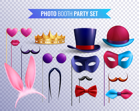 Photo booth party transparent set of isolated stickers masks and hats with moustache and glasses images vector illustration