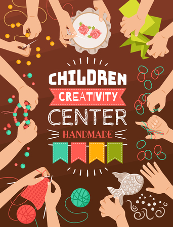 Colorful flat design poster of creative handmade studio for kids vector illustration