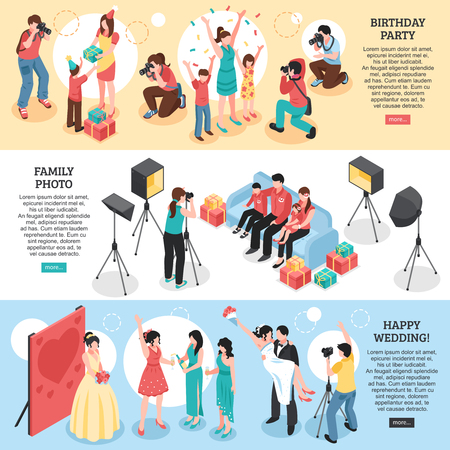 Professional photographer horizontal isometric banners with birthday party, family portrait, happy wedding isolated vector illustration