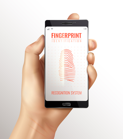 Hand holding smart phone with finger print identification recognition system on screen realistic vector illustration