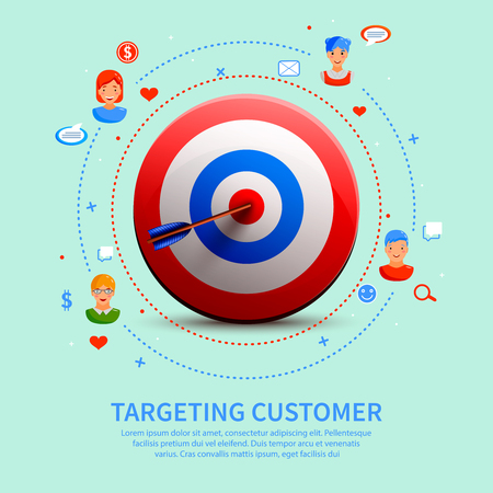 Targeting customer round composition with 3d aim, communications with clients icons on pale green background vector illustration Illustration