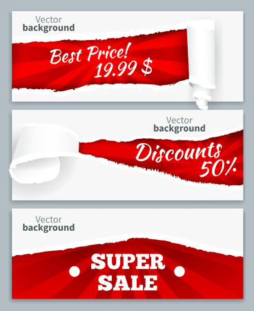 Torn paper curls revealing super sales discount prices on red background realistic horizontal banners set vector illustration
