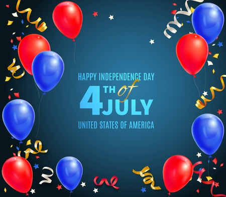 Happy independence day of usa greeting card with holiday date 4th of july and festive symbols realistic vector illustration