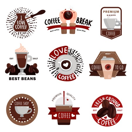 Coffee production flat colored emblems badges and labels for coffee shop cafe and restaurant design isolated vector illustration Illustration