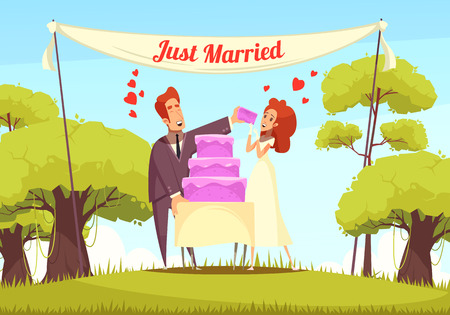 Cheerful just married persons eating bridal cake at outdoor cartoon vector illustration