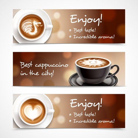 Coffee advertising horizontal banners with cups of cappuccino or latte and description best taste and incredible aroma realistic vector illustration