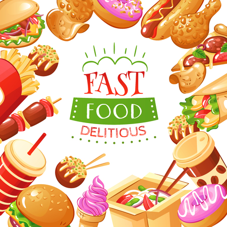 Bright fast food poster with burgers hot dogs drinks french fries pizza and desserts flat vector illustration Illustration