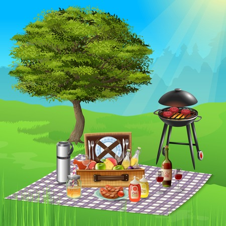 Summer picnic with wine cheese fruits and delicious bbq dishes cooking on grill realistic vector illustration Illustration
