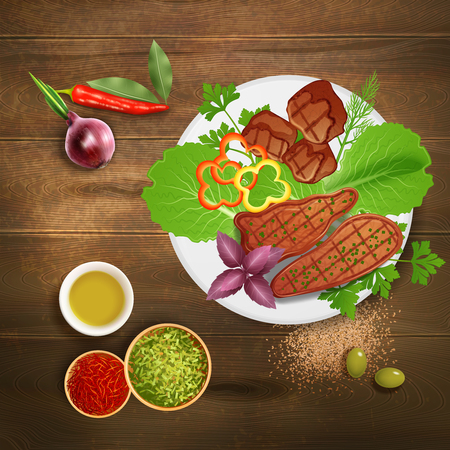 Bbq grilled steaks served with various herbs condiments and sauce on wooden table realistic vector illustration