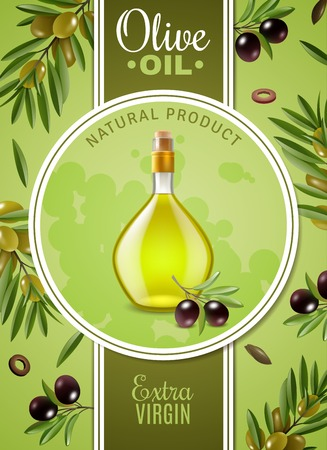 Extra virgin olive oil poster with advertising of natural product and glass bottle with cork stopper realistic vector illustration