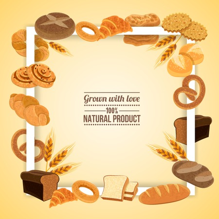 Bread and pastry frame with natural product symbols flat vector illustration