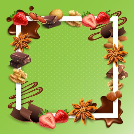 Realistic chocolate with nuts, strawberry, stars of anise, white square frame on green background vector illustration Illustration