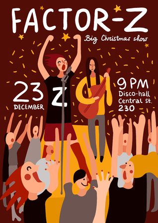 Club party poster with big Christmas show and concert symbols flat vector illustration