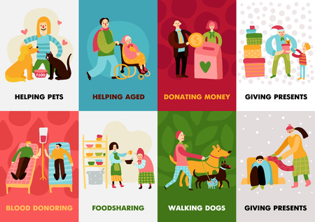 Charity types cards set with giving presents walking dogs blood donoring helping aged compositions flat vector illustration
