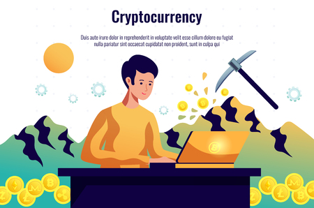 Criptocoins miner maintaining blockchain network working with computer software and trading cryptocurrency horizontal composition header vector illustration