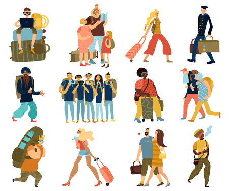 People trips isolated icons set with cartoon groups of traveling tourists of different races and nationalities flat vector illustration Illustration