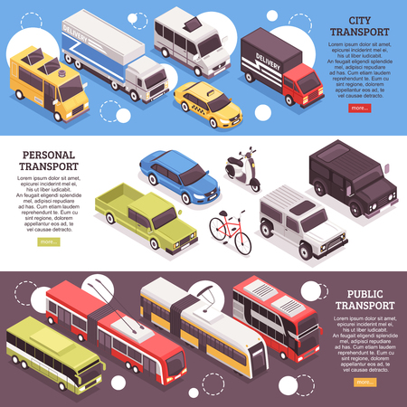 Set of horizontal isometric banners, city carriers, personal vehicles and public transport, isolated vector illustration