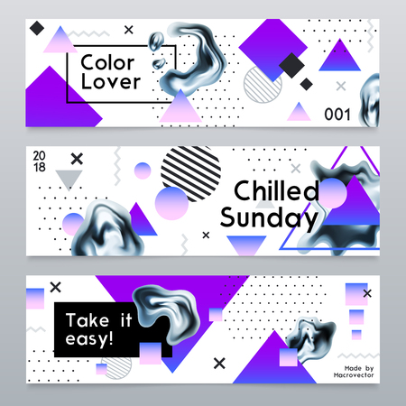 Abstract horizontal banners in modern design with chrome elements and advertising text isolated vector illustration Çizim