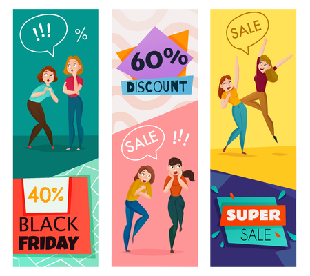 People and emotions vertical banners set with sale and discount symbols flat isolated vector illustration 向量圖像
