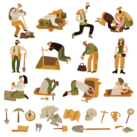 Archeology icons set with bones and equipment symbols flat isolated vector illustration Çizim