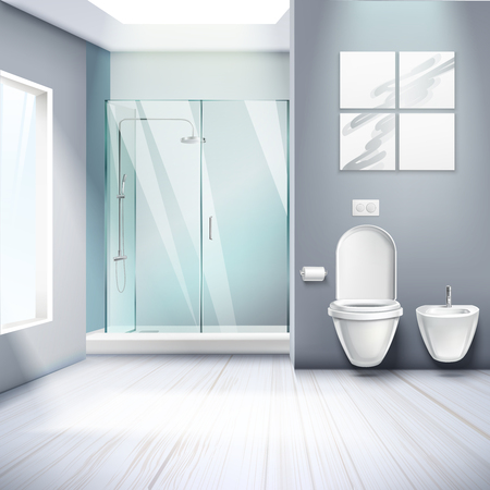 Simple bathroom  interior realistic composition with shower cabin toilet and bidet 3d elements vector illustration Foto de archivo - 101864820