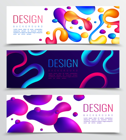 Set of three fluid neon holographic abstract design horizontal banners with colourful drops and editable text vector illustration Ilustração